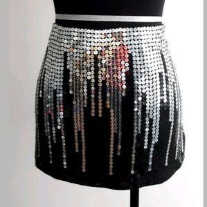 bebe Women's Size 4 Short Mini Skirt Black/Silver